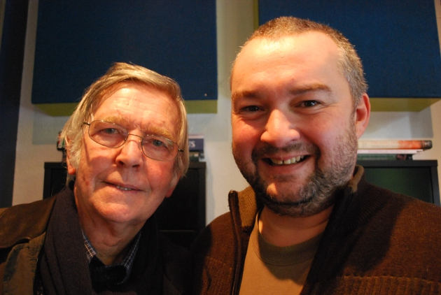 Dave Lee and Sir Tom Courtenay in the studio