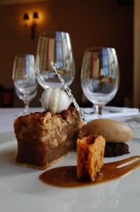 Walnut treacle tart with chocolate cappuccino ice cream and warm espresso gel