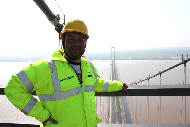 Dave Lee on the Humber Bridge