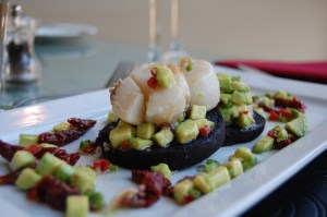 Seared scallops with black pudding and avocado and chilli salsa 03