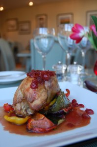Roasted partridge with roasted vegetables and cranberry jus